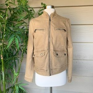 Lauren Jeans Co. Tan Mock Neck Denim Zip Up Jacket